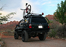 4Runner in Moab with bike on roof
