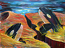 Painting of 2 Orcas swimming in a sea of sand